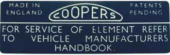 Cooper S Air Filter Sticker