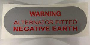 Mini & Moke Alternator Negative Earth Sticker